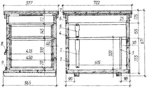Устройство улья на 16 рамок с магазином: 1 - корпус; 2 - гнездовая рамка; 3 - диафрагма; 4 - магазин; 5...