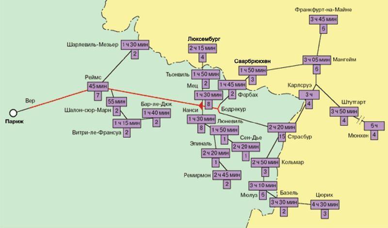 Схема первой очереди линии TGV