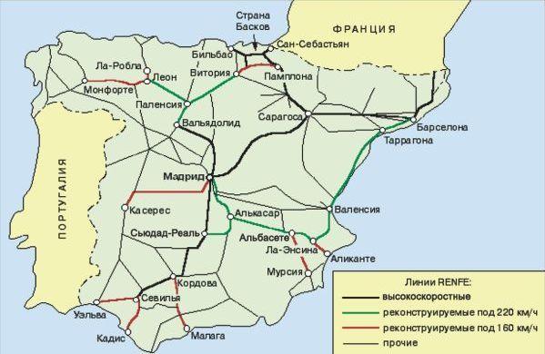 железных дорог Испании в